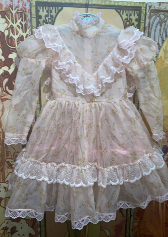 Vintage Child Girl Floral Sheer Ruffle Lace Party Dress 4-6