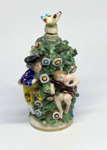 Rare Sitzendorf Figural Porcelain Perfume Bottle w/ Double Bird Stopper C1910