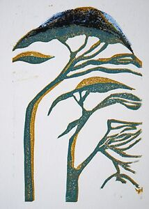 Linocut of trees by Heather townshend. Bristol, abstract.