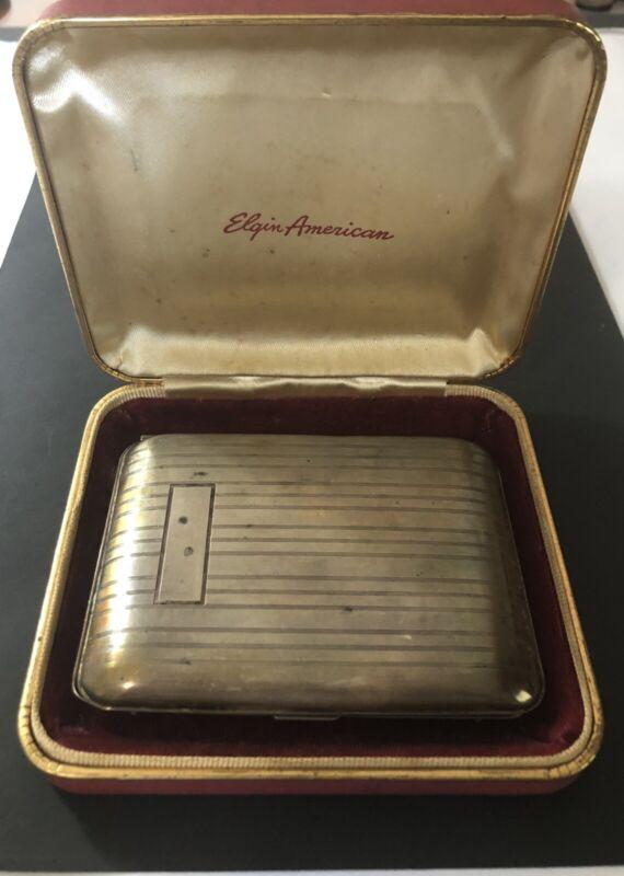 Elgin America Sterling Silver Cigarette Case W/ Original Box No Monogram