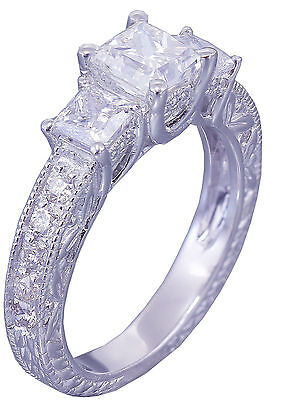 GIA I-SI1 14k White Gold Princess Cut Diamond Engagement Ring Antique 1.60ctw 4