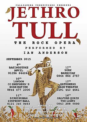 "JETHRO TULL ""ROCK OPERA PERFORMED BY IAN ANDERSON"" 2015 UK CONCERT TOUR POSTER"