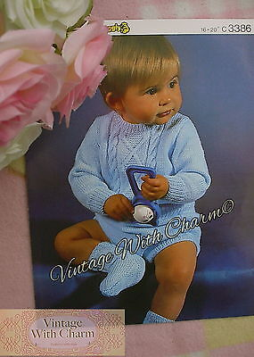 Vintage Knitting Pattern Baby Boys Patterned Sweater Pants & Socks FREE POSTAGE!