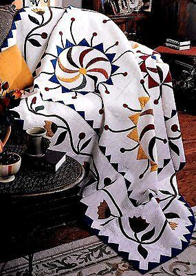 PINWHEELS AND CHERRIES ---- Applique & Block Vintage Quilt -