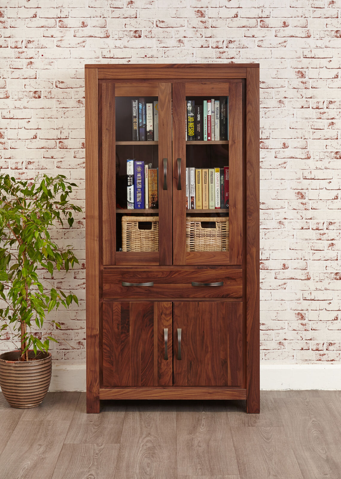 Mayan Solid Walnut Dark Wood Large Glazed Bookcase Display Cabinet With Storage