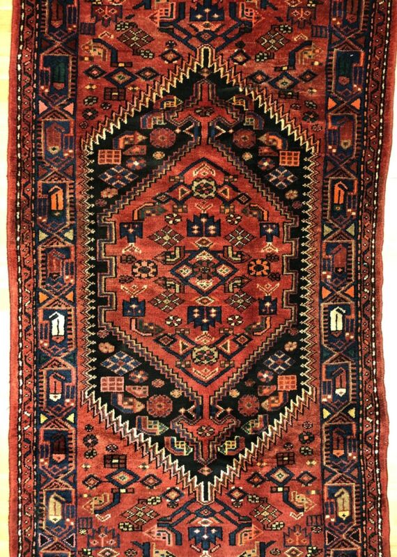 Terrific Tribal - 1920s Antique Oriental Rug - Nomadic Carpet - 3.5 X 6.9 Ft.