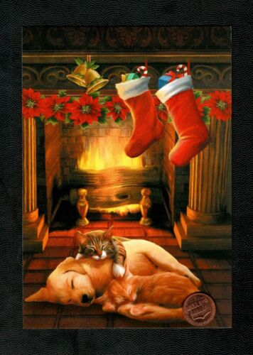 Christmas Cats Kittens Puppy Dogs Fireplace Stockings Greeting Card  W/ TRACKING