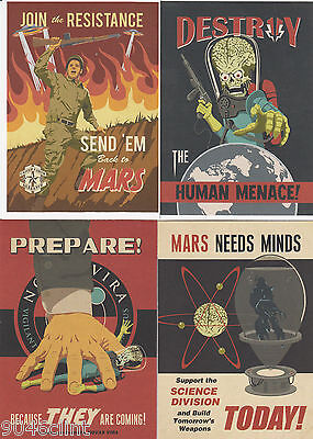 2013 Topps MARS ATTACKS INVASION JOIN THE FIGHT 4 CARD COMPLETE INSERT SET