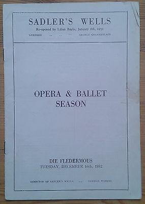 Die Fledermaus programme Sadler's Wells Opera & Ballet Season 16th Dec 1952