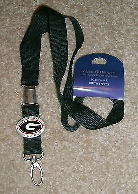 NWT Georgia Bulldogs Metal Pewter Logo Breakaway Lanyard ID Key Chain