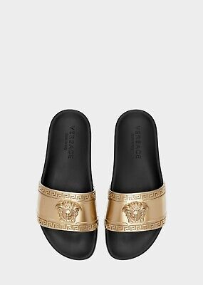Authentic Versace Gold Medusa Head Beach Slides UK9 EU43 US10  £280 with receipt