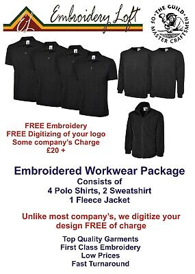 EMBROIDERED WORKWEAR PACKAGE MANPACK 9 INCLUDES EMBROIDERED LOGO & SET-UP