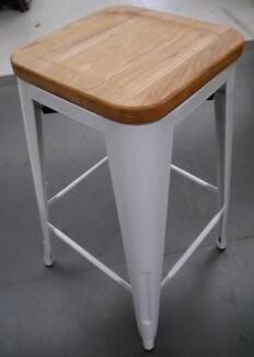 New White Metal 26'' Replica Tolix Ash Timber Kitchen Stools