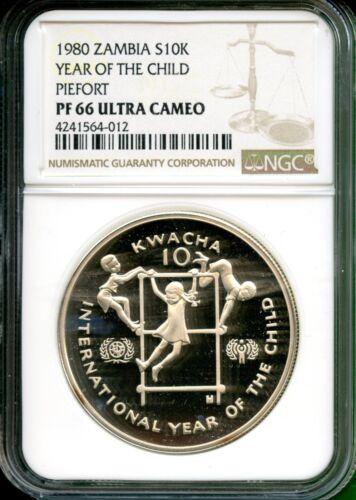 ZAMBIA 1980 YEAR OF CHILD  PROOF  PIEFORT   $5 K   NGC 66 UC  VERY RARE