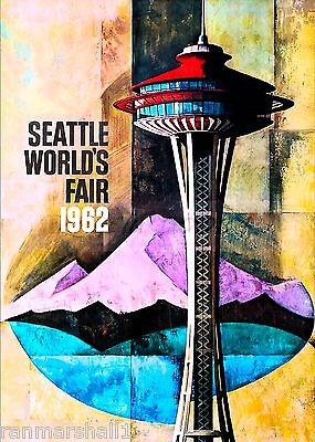 1962 Seattle Washington World's Fair United States Travel Advertisement Poster