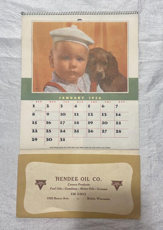 Vintage 1956 Calendar Hendee Oil Co. Conoco Gas Beloit Wisconsin