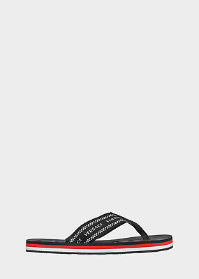 Versace Nastro Logo Print Black Flip Flops, size 41 / UK7 - BNWB, RRP £190