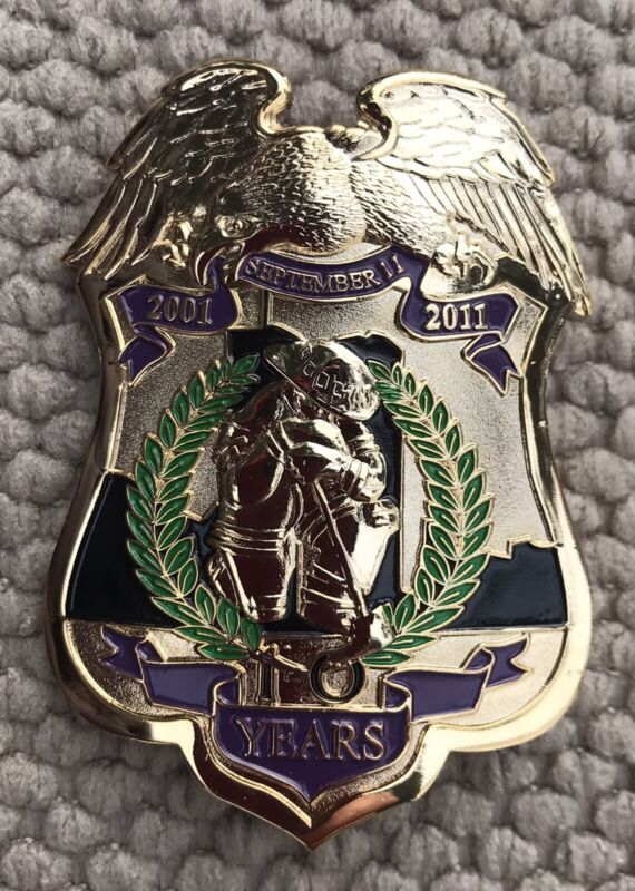 """9/11 FD Ten Year Anniversary LTD Adition Numbered 343 Total Giant Pin 3"""""""