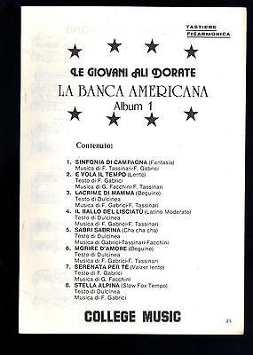 LA BANCA AMERICANA - LE GIOVANI ALI DORATE - 8 BRANI # SPARTITO - TASTIERE, FISA