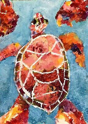 Original painting Art Artwork on canvas Sea Turtle Impressionist signed