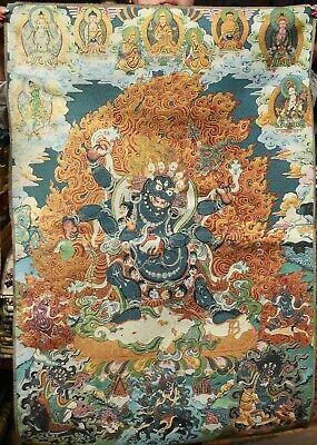 90CM Tibet Cloth Silk Buddhism Mahakala Wrathful Deity Thangka Tangka Mural