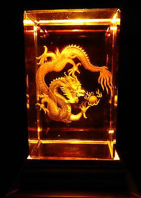 3D Glas Kristall Quader Tier Fantasy Chinesisch Drache Leuchtsockel Farbwechsel