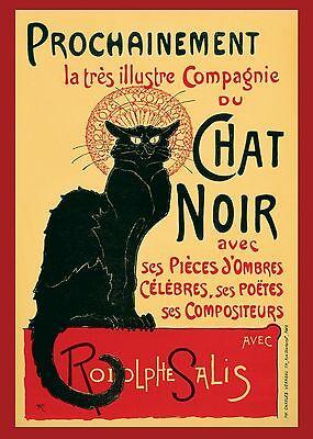 Chat Noir Art Print Vintage black Cat Poster painting for glass frame