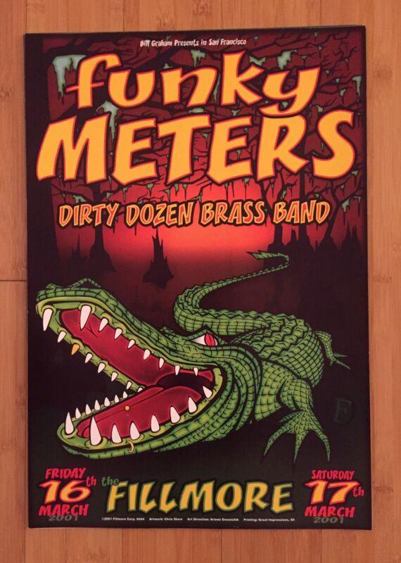 2001 FUNKY METERS FILLMORE CONCERT POSTER F444 Bill Graham Art Neville GeoPorter