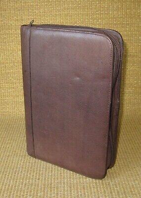 Classic 1.125 Rings Brown Leather Wilsons Zip Plannerbinder Organizer Folio