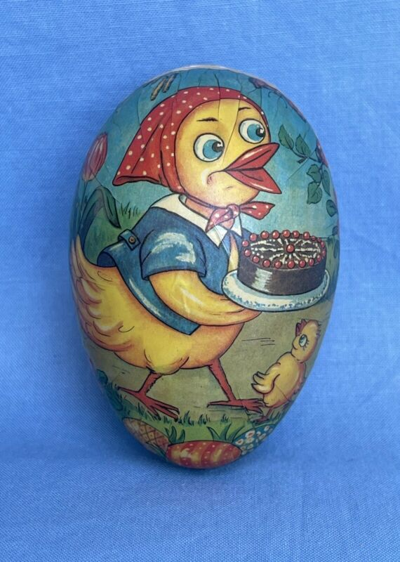 Vintage Germany Paper Mache Easter Egg Candy Container Chicken Chick Hen W/ Cake