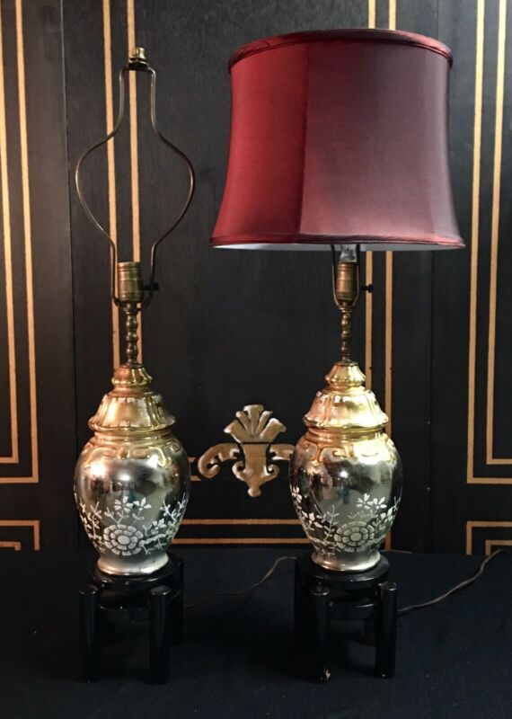 Pair Of Late 1960's Mid Century Gold Porcelain Lamps