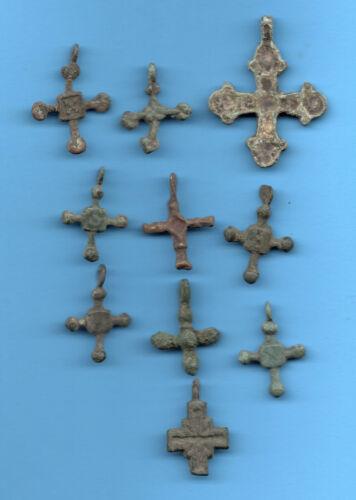 LOT OF 10 Ancient Viking Enamel Bronze Cross Kiev Russia ca 1100 Byzantine 25