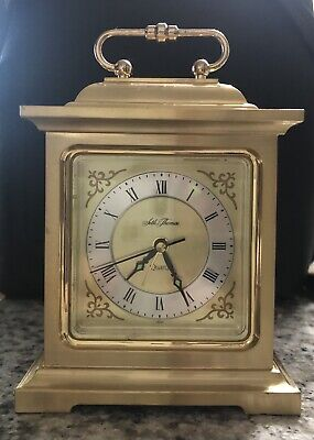 Vintage Seth Thomas - Solid Brass Desk Mantle Alarm Clock #4RE703 Quartz - Japan