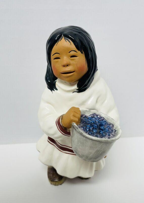"C. Alan Johnson Inuit Eskimo Girl ""Sarah"" Signed Figurine @1992  AT123"
