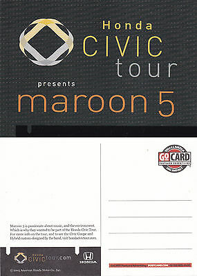 HONDA CIVIC TOUR PRESENTS MAROON 5 UNUSED COLOUR POSTCARD