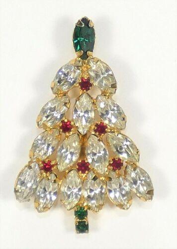 Vintage Christmas Tree Brooch Gold Tone Prong Set Navette Rhinestones Unsigned