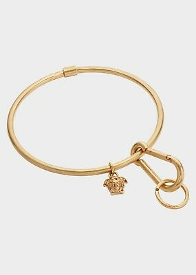 NEW Versace Gold Tone Medusa Hoop Key Ring