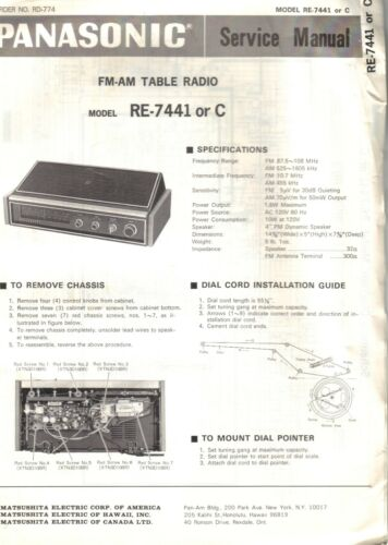 PANASONIC SERVICE MANUAL FOR RE-7441 OR C