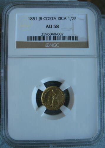 1851 JB Costa Rica Gold 1/2 Escudo NGC AU-58