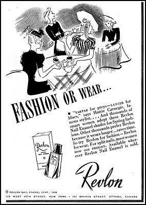 1938 Women Dining waitress Revlon Nail Enamel vintage art print ad L26