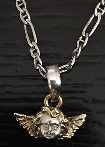 Sterling Silver Necklace with Silver Gold Angel pendant