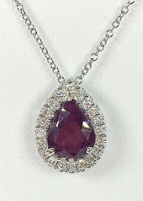 1.50 ct NATURAL DIAMOND & RUBY pear shape pendant 14k white GOLD & 18