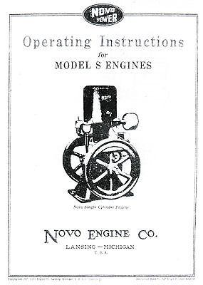 Novo Model S Gas Engine Motor Manual Book Hit Miss Single Flywheel Stationary