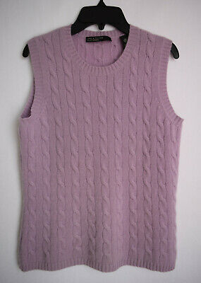 Lord & Taylor 2Ply Cashmere Vest Women's Sleeveless Sweater Cable Knit Size -