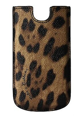 NEW DOLCE & GABBANA Phone Case Cover Brown Leopard Pattern Leather iPhone5