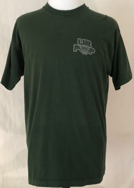 U2 1997 PopMart Tour Crew Shirt Size XL Green