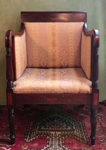 Sheraton Style Mahogany Marquetry Inlaid Upholstered Bergere Armchair c1890-1910