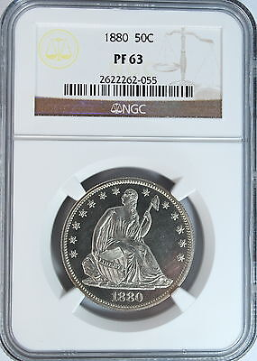 PROOF SEATED LIBERTY HALF DOLLAR 50 CENTS 1880 NGC PF63  LOW MINTAGE