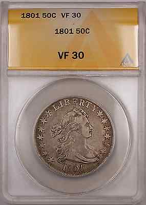 Click now to see the BUY IT NOW Price! 1801 DRAPED BUST SILVER COIN 50C ANACS VF 30 O 102 R OF THE 2 VARIETIES