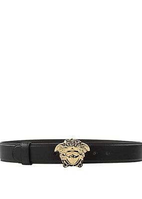 """Versace Black Leather Belt with Gold Medusa Buckle • Width 1.5"""" • Made in Italy"""